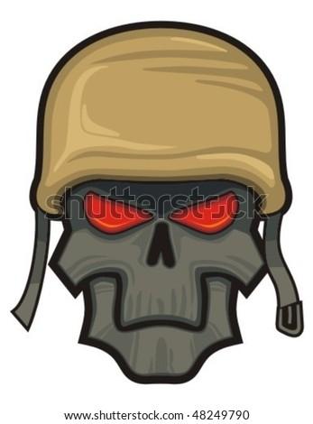 Skull with helmet. - stock vector