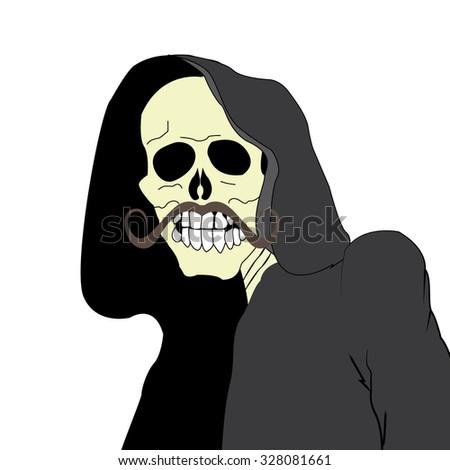 skull with mustache - stock vector