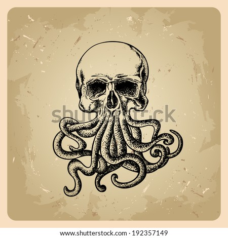 skull with octopus in a tattoo style  - stock vector