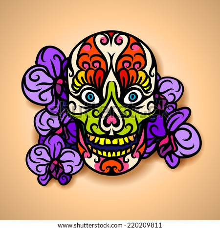 Skull with orchids - vector illustration. - stock vector