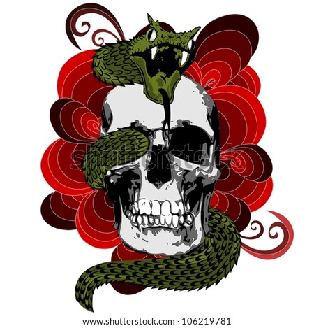 Skull with snake - stock vector