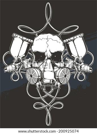Skull Spray Gun Stock Vector (Royalty Free) 200925074 ...