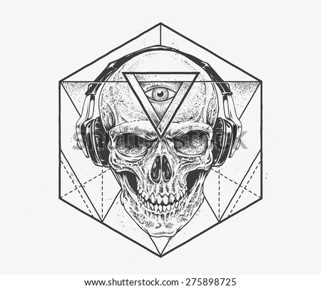 Skull with third eye in headphones. Dotwork styled illustration with geometric abstract elements. Vector art. - stock vector