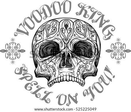 skull with tribal tattoo and symbols, vector illustration