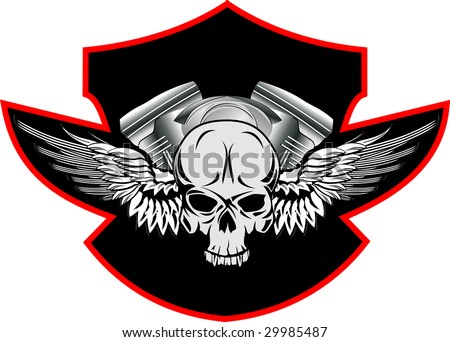 skull with wings - stock vector