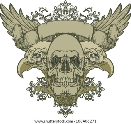 Skull with wings and double-headed eagle, hand-drawing. Vector illustration - stock vector