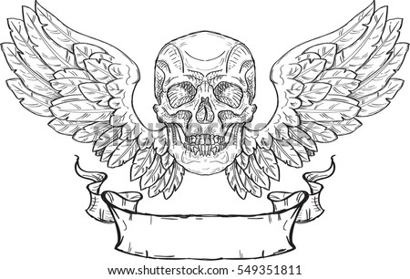 Skull with wings and ribbon in engraving style