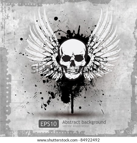 Skull with Wings Vector Illustration - stock vector
