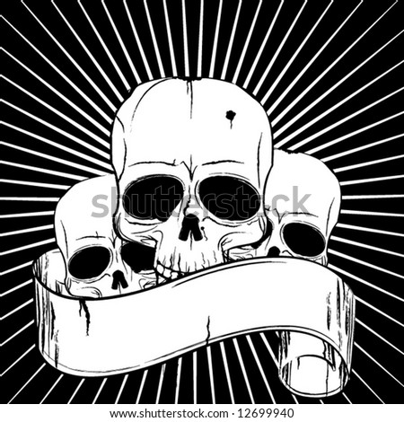 Skulls and ancient banner on black background - stock vector