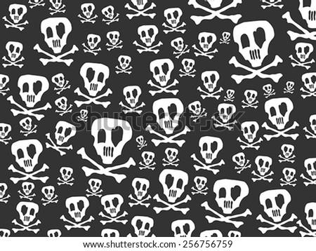 skulls and bones background - stock vector