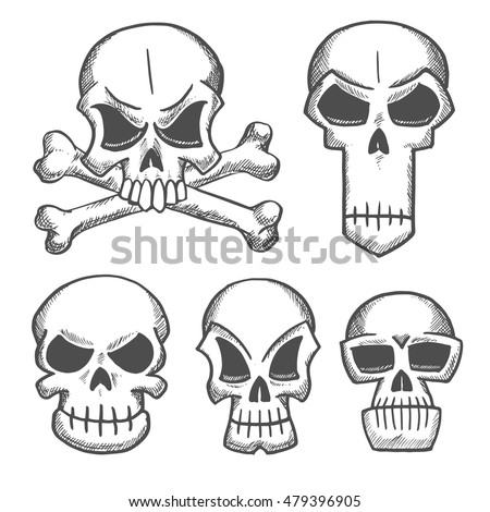 cartoon skulls set scary halloween another stock