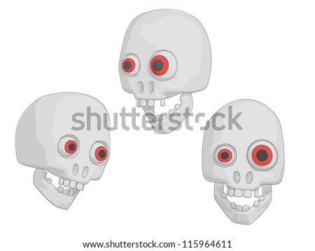 Skulls (Human for Halloween etc). - stock vector