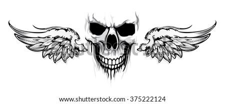 skulls wings tattoo stock vector 375222124 shutterstock. Black Bedroom Furniture Sets. Home Design Ideas