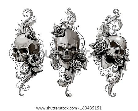 Skull tattoo on scary graveyard with flowers