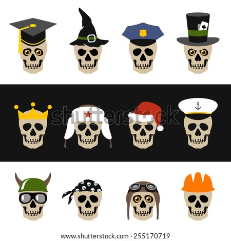 Skulls with hat, helmet, cap, bandanna and crown - stock vector