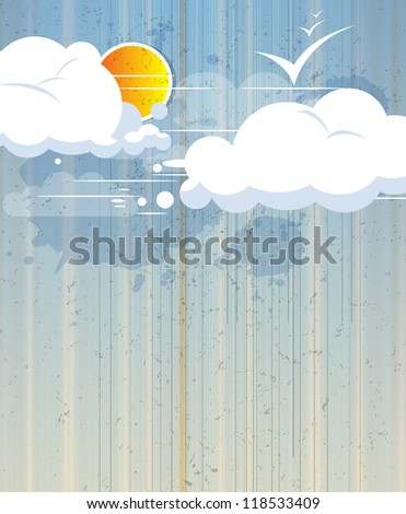 sky abstract retro background with clouds and sun - stock vector