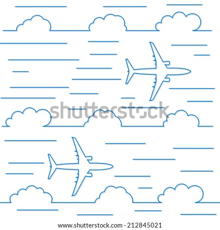 Sky and airplane, background in line style. - stock vector