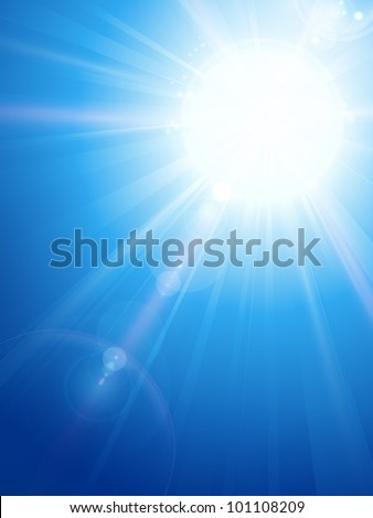 Sky background with a magnificent sun burst with lens flare. Space for your text. EPS10