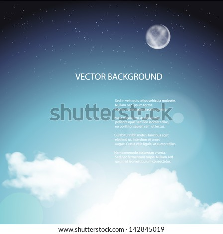 Sky background with bright stars and moon.