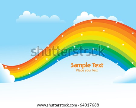 sky background with rainbow, vector wallpaper for rainy day - stock vector