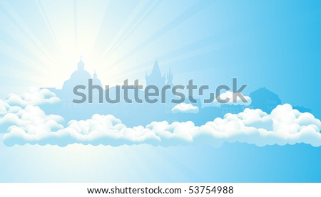 Sky city,  vector illustration - stock vector