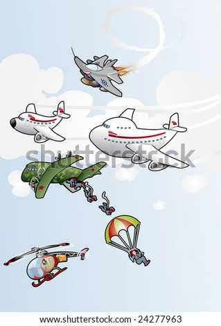 sky dive & Fly - stock vector