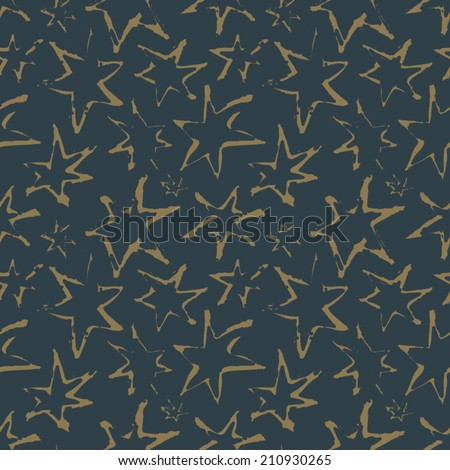 Sky Full of Stars. Vector seamless pattern with dark blue and dim golden colors.