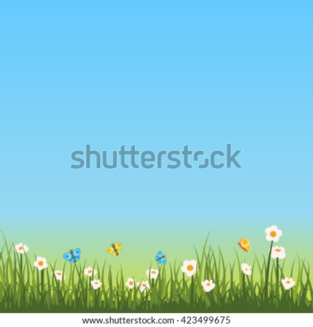 Sky, grass and flowers vector background