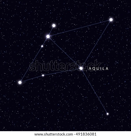 Sky Map with the name of the stars and constellations. Astronomical symbol constellation Aquila