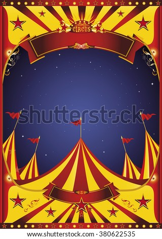 Sky night circus big top. A circus vintage poster in the night for your entertainment - stock vector
