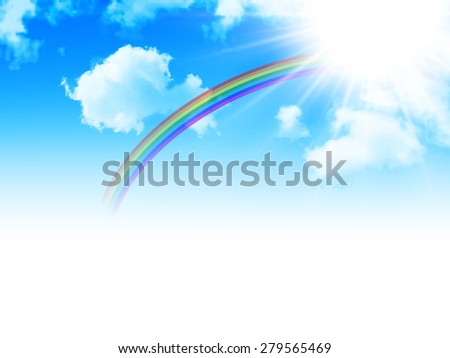 Sky rainbow background - stock vector