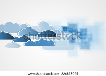 Sky save technology concept. Virtual power of business concept - stock vector
