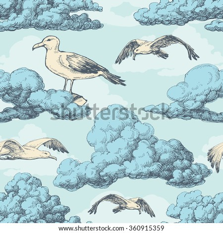 Sky seamless pattern, clouds and birds - stock vector