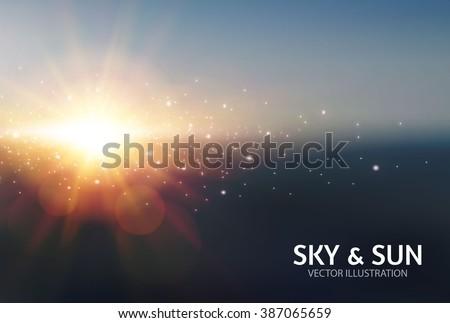 Sky & Sun. Realistic Blur Design. Abstract Shining Background. Vector illustration - stock vector