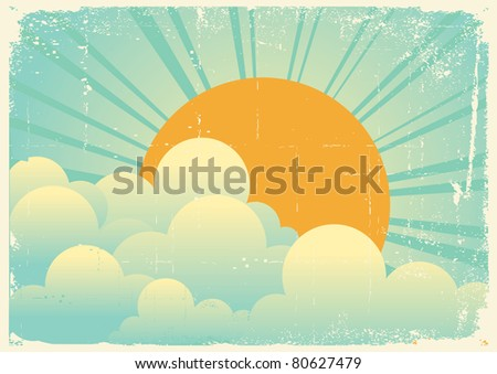 sky with beautifull clouds.Vector vintage cloudscape on old paper texture - stock vector