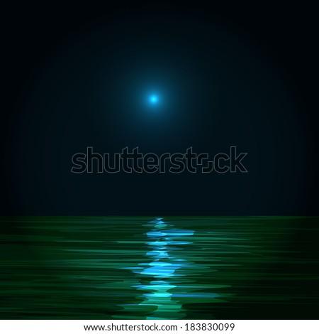 sky with blue moon, stars and calm sea  - stock vector