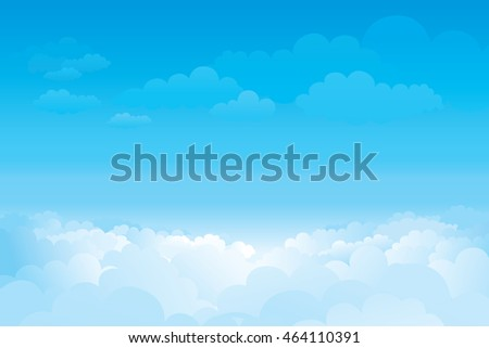 Sky with clouds  on a sunny day. Vector illustration