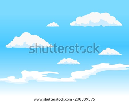 Sky with clouds vector illustration - stock vector