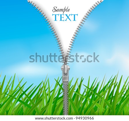 Sky with grass background with zipper. Vector. - stock vector