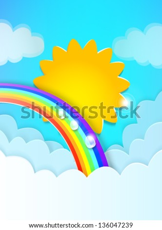 sky with sun, clouds and a rainbow