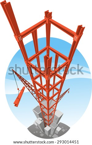 skycraper Building construction crane vector  - stock vector