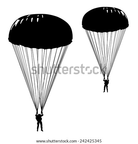 Skydiver, parachuting silhouette, soldier with parachute. Vector illustration. - stock vector