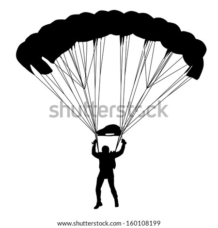 Skydiver, silhouettes parachuting vector illustration - stock vector