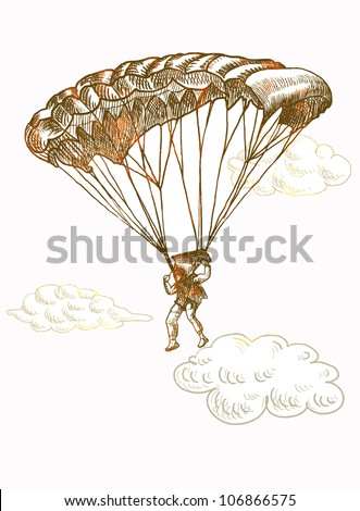 skydiver with a parachute, hand drawing converted to vector - stock vector
