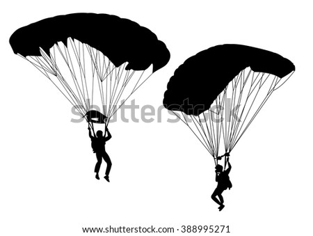 Skydivers. collection of vector illustrations - stock vector