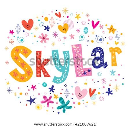 Skylar girls given name decorative lettering type design - stock vector