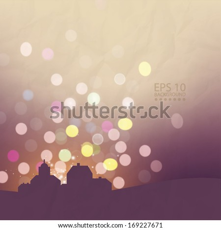 Skyline at night blurred bokeh effect background - stock vector