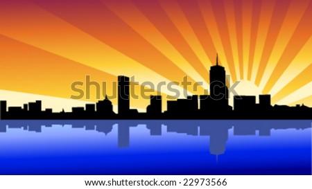skyline boston - stock vector