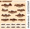 Skyline city set. 10 cities of USA #4 - stock vector