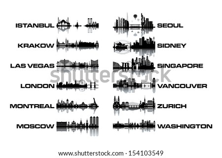 Skyline collection - black and white vector illustration - stock vector
